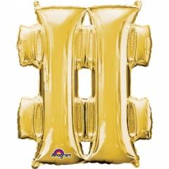 Balon Folie Simbol Hashtag Auriu - 41 cm, Amscan 33067
