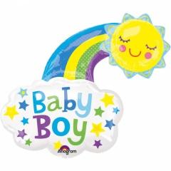 Balon folie figurina baby boy curcubeu - 76 x 76 cm, Amscan 33658