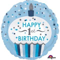 Balon folie 45 cm 1st Birthday, Amscan 34530