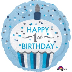 Balon folie 45 cm albastru 1st Birthday, Amscan 34530