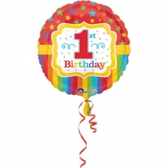 Balon Folie 45 cm 1st Birthday, Amscan 33570