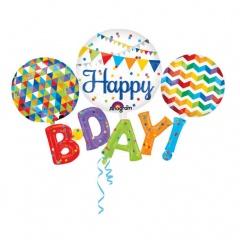 Balon Folie Figurina Happy Birthday - 142 x 91 cm, Amscan 31227