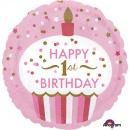 Balon Folie 45 cm Happy 1st Birthday, Amscan