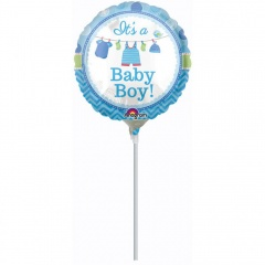 Balon Mini Folie It's A Boy - 23 cm, umflat + bat si rozeta, Amscan 31931