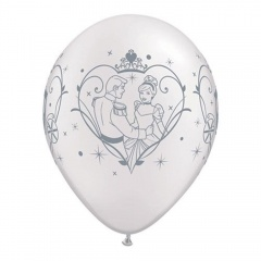 "Baloane latex 11"" inscriptionate Cinderella & Prince Charming, Qualatex 99292, set 25 bucati"