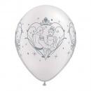 "Baloane latex 11"" inscriptionate Cinderella & Prince Charming, Qualatex 99292, set 25 bucati"