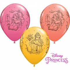 "Baloane latex 11"" inscriptionate Printese Disney - Belle, Qualatex 46759, set 25 bucati"