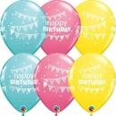 Baloane latex 11''/28 cm Happy Birthday - diverse culori, Qualatex 50209