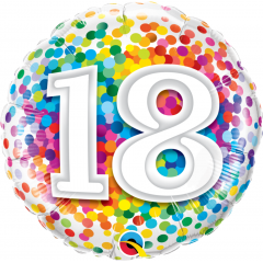 Balon Folie 45 cm 18 ani multicolor, Qualatex 49502