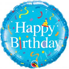 Balon Folie 45 cm Bleu Happy Birthday, Qualatex 49444