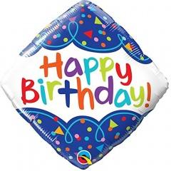Balon Folie 45 cm Romb Happy Birthday, Qualatex 49093