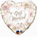 Balon Folie 45 cm Just Married Roses, Qualatex 31082