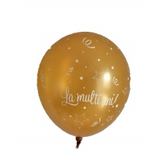 "Baloane latex ""La multi ani"" Sidefate, Ivory/Gold - 11""/28cm, Qualatex  Q27078.Ivory-Gold"