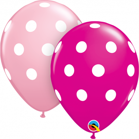 "11"" Printed Latex Balloons, Big Polka Dots Wild Berry, Qualatex 25340, Pack of 100 pieces"