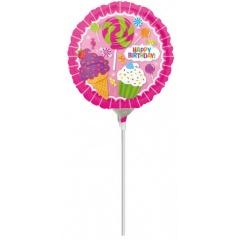 Balon mini folie SweetShop Birthday - 23 cm, umflat + bat si rozeta, Amscan 32624
