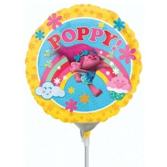 Balon Mini Folie Trolls 23 cm, umflat + bat si rozeta, Amscan 34268