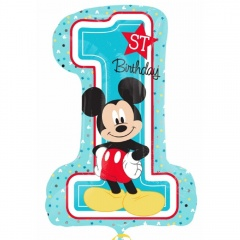 Figurina Mickey Mouse 1st Birthday SuperShape Balloon, 71 x 48 cm, Amscan 34343, 1 piece