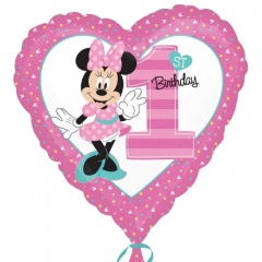 Balon folie inima Minnie 1st Birthday - 45cm, Amscan 34350