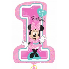 Balon Folie Figurina Figurina Minnie Mouse 1st Birthday - 71x48 cm, Amscan 34352, 1 buc