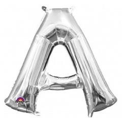Balon Folie Minifigurina Litera A Argintiu - 35 X 33 cm, Amscan 33011