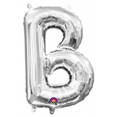 "16""/41 cm Silver Letter B Shaped Foil Balloon, Northstar Balloons 00480"