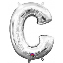 "16""/41 cm Silver Letter C Shaped Foil Balloon, Northstar Balloons 00481"