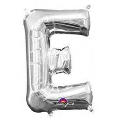 Balon Folie Litera E Argintiu - 41 cm, Amscan 33019
