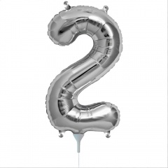 "16""/41 cm Silver Number 2 Shaped Foil Balloon, Northstar Balloons 00434"