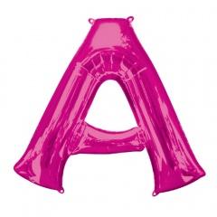 Balon Folie Mare Litera A roz - 86 cm, Amscan 35402