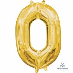 Balon Folie Cifra 0 Auriu, 41 cm, Amscan 33075
