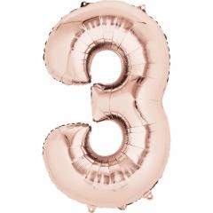 Balon Folie Mare Cifra 3 Rose Gold - 88 cm, Amscan 36214