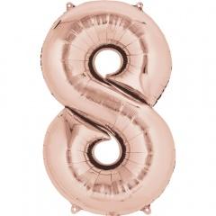 Balon Folie Mare cifra 8 Rose Gold - 83 cm, Amscan 36219