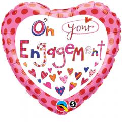 Balon Folie 45 cm On Your Engagement, Qualatex 51171
