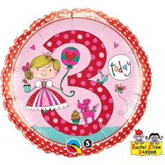 Balon Folie 45 cm Cifra 3 Princess Polka Dots, Qualatex 23475