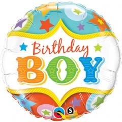 Balon Folie 45 cm Birthday Boy, Qualatex 25233