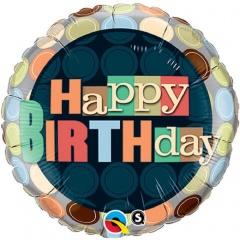 Balon Folie 45 cm Happy Birthday, Qualatex 25680