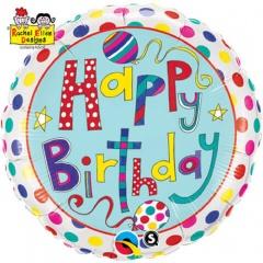 Balon Folie 45 cm Happy Birthday Polka Dots & Stripes, Qualatex 50404