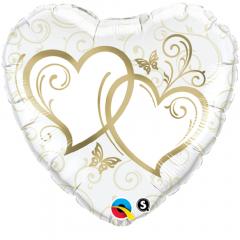 Balon Folie 45 cm Entwined Hearts, Qualatex 15668
