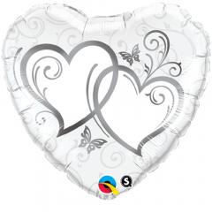 Balon Folie 45 cm Entwined Hearts Silver, Qualatex 15746