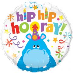 Balon Folie 45 cm Hip Hip Hooray Hippo, Qualatex 26481