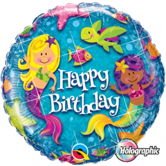 Balon Folie 45 cm Happy Birthday Sirene, Qualatex 18415