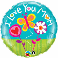 Balon Folie 45 cm I Love You Mom, Qualatex 11842