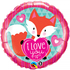 Balon Folie 45 cm I Love You Fox, Qualatex 23459