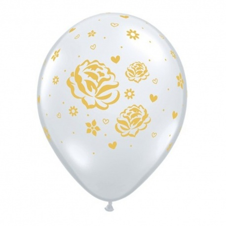 "11"" Printed Latex Balloons, Roses Diamond Clear, Qualatex 81986"