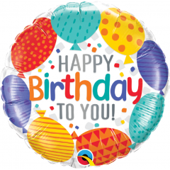 Balon Folie 45 cm Happy Birthday, Qualatex 49141