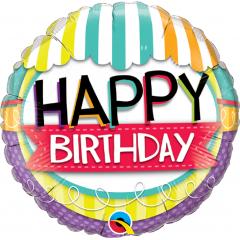 Balon Folie 45 cm Happy Birthday, Qualatex 26529