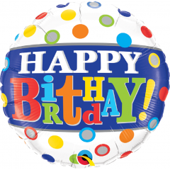 Balon Folie 45 cm Happy Birthday Band & Dots