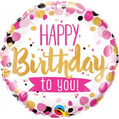 Balon Folie 45 cm Happy Birthday To You Pink & Gold Dots, Qualatex 49170