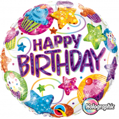 Balon Folie 45 cm Holografic Happy Birthday Dazlling Sweets, Qualatex 41438