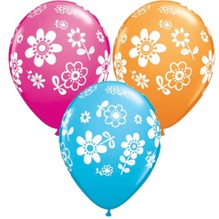 "11"" Daisies Printed Latex Balloons, Qualatex 18810, Pack of 100 Pieces"